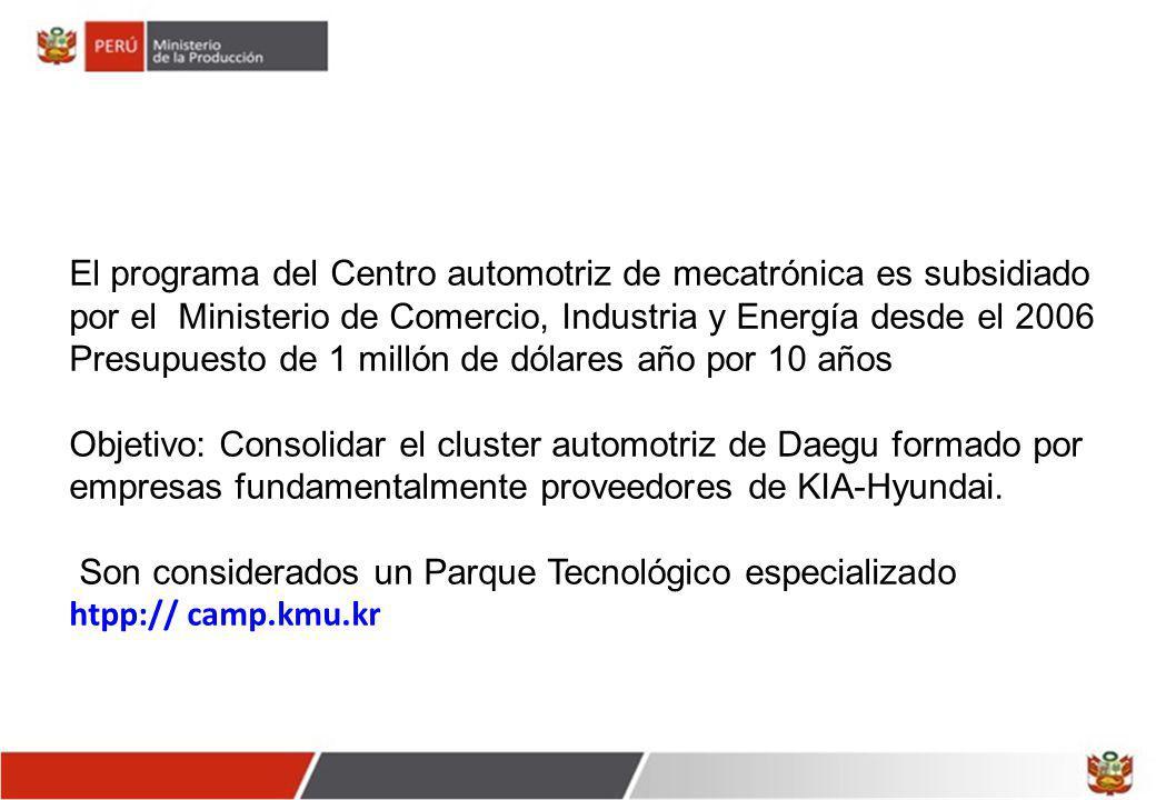 El programa del Centro automotriz de mecatrónica es subsidiado por el Ministerio de Comercio, Industria y Energía desde el 2006