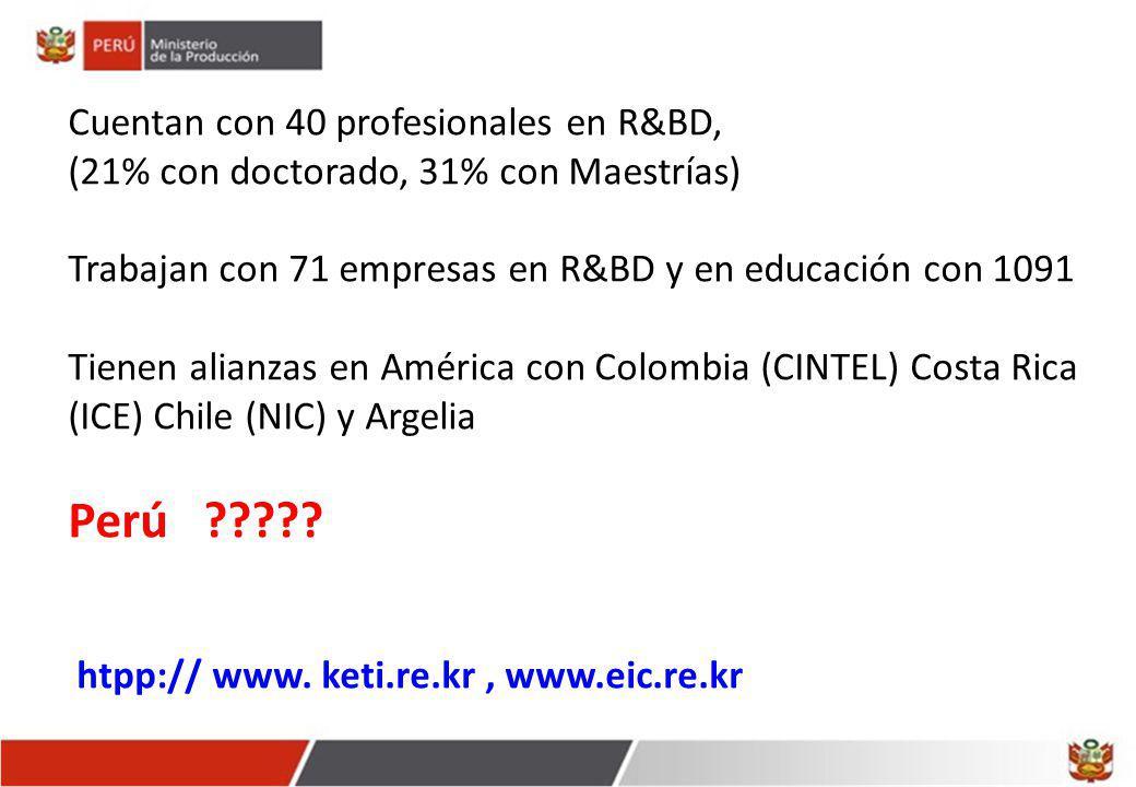 Perú Cuentan con 40 profesionales en R&BD,