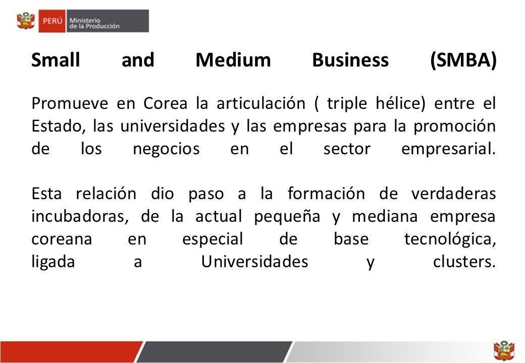 Small and Medium Business (SMBA) Promueve en Corea la articulación ( triple hélice) entre el Estado, las universidades y las empresas para la promoción de los negocios en el sector empresarial.
