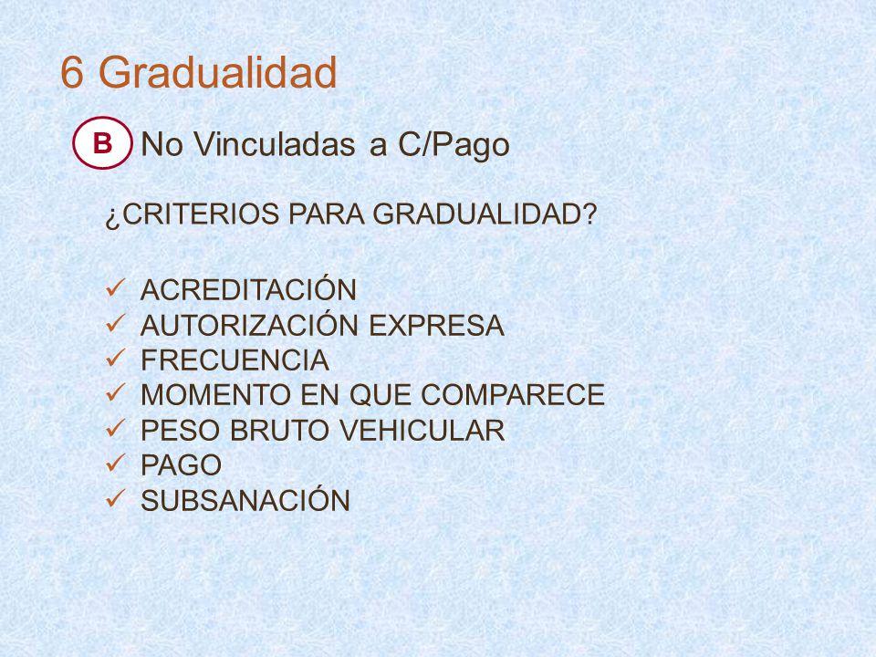 6 Gradualidad No Vinculadas a C/Pago B ¿CRITERIOS PARA GRADUALIDAD