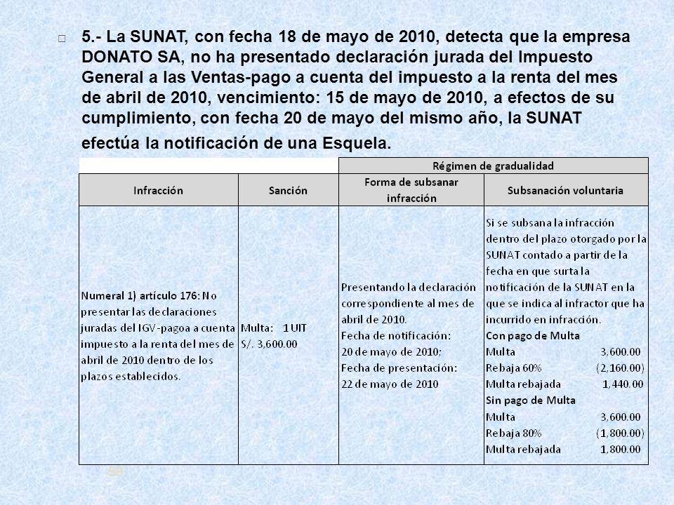 5.- La SUNAT, con fecha 18 de mayo de 2010, detecta que la empresa DONATO SA, no ha presentado declaración jurada del Impuesto General a las Ventas-pago a cuenta del impuesto a la renta del mes de abril de 2010, vencimiento: 15 de mayo de 2010, a efectos de su cumplimiento, con fecha 20 de mayo del mismo año, la SUNAT efectúa la notificación de una Esquela.