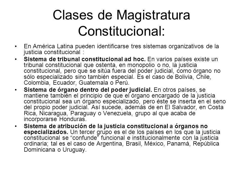 Clases de Magistratura Constitucional: