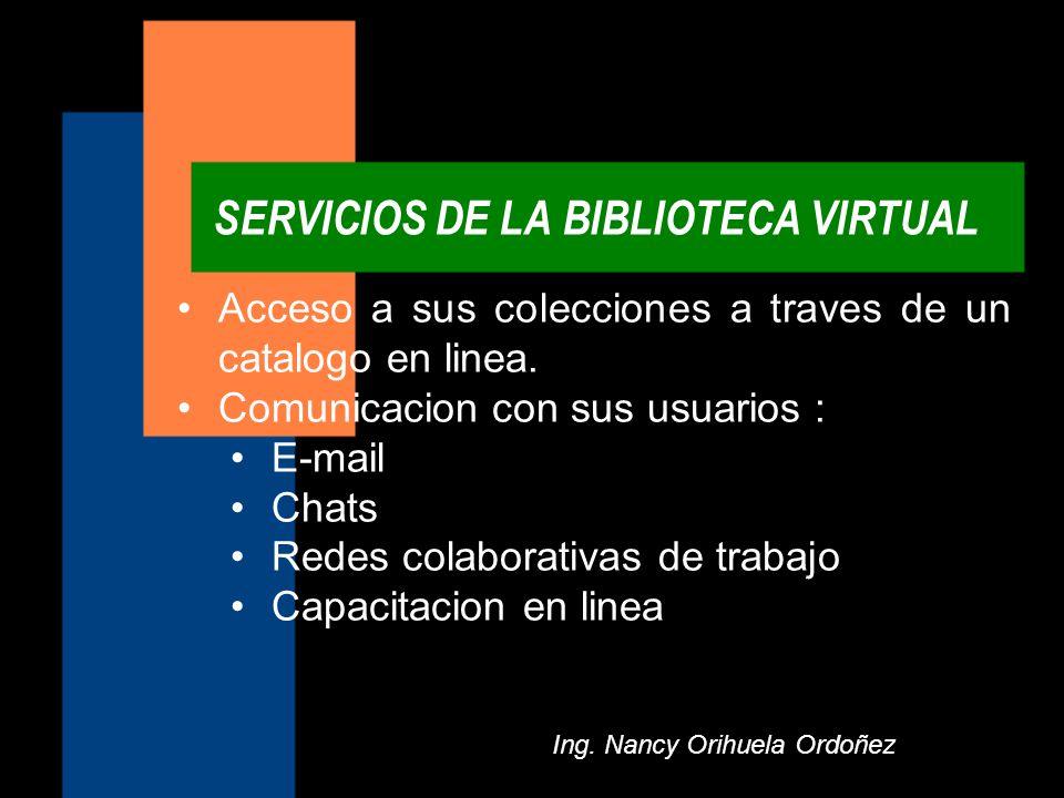 SERVICIOS DE LA BIBLIOTECA VIRTUAL