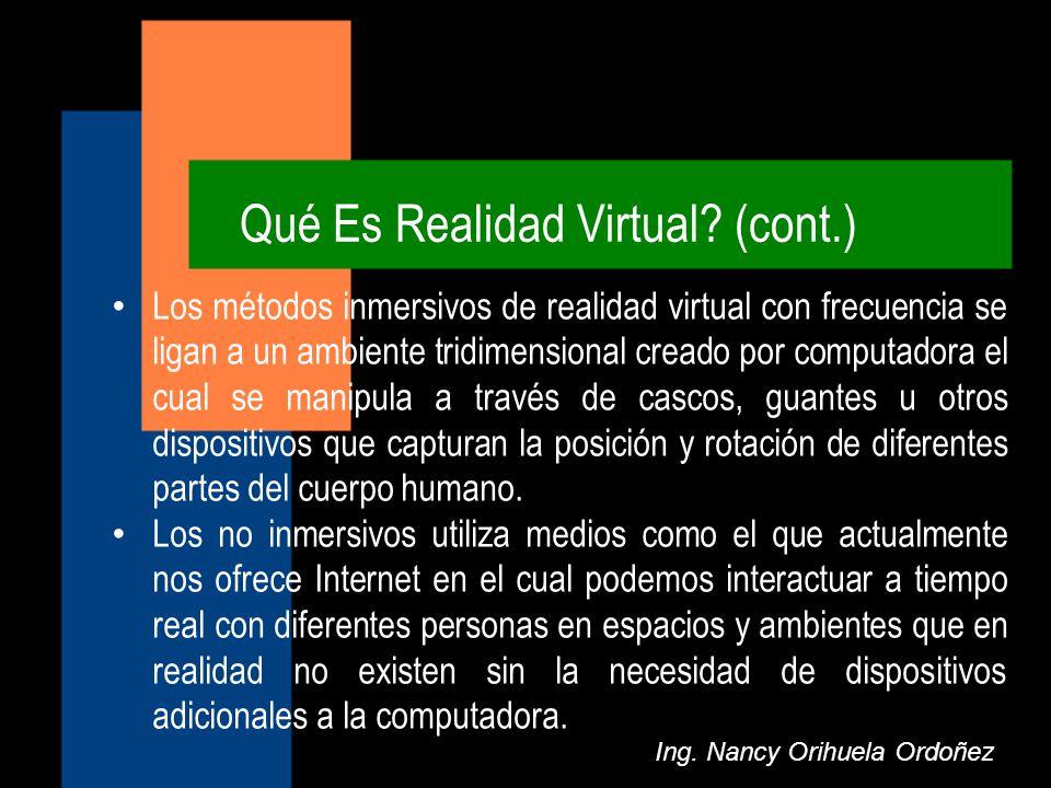 Qué Es Realidad Virtual (cont.)