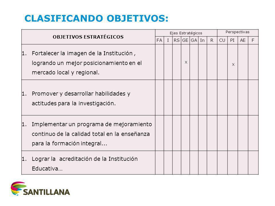 CLASIFICANDO OBJETIVOS: