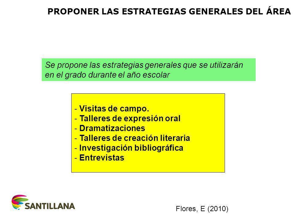 PROPONER LAS ESTRATEGIAS GENERALES DEL ÁREA