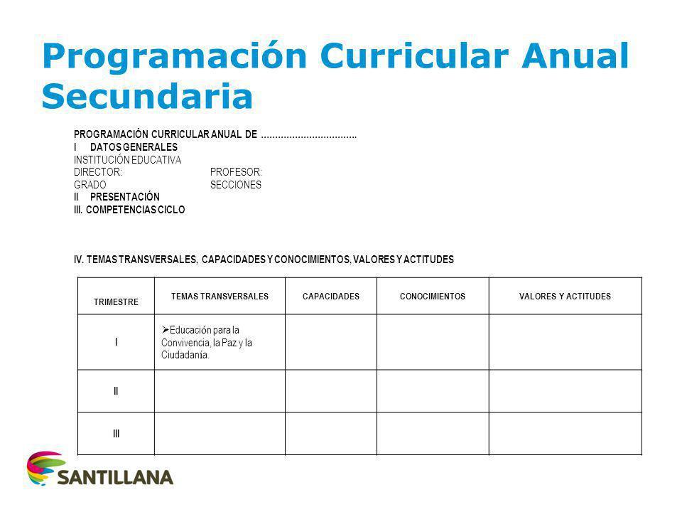 Programación Curricular Anual Secundaria