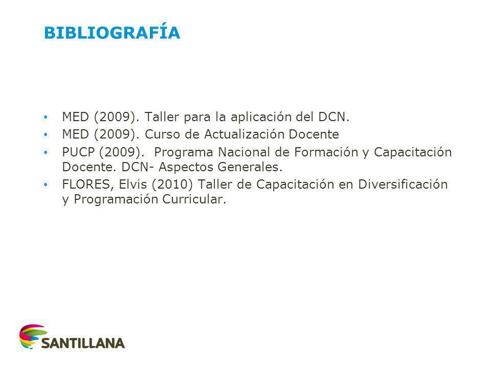 BIBLIOGRAFÍA MED (2009). Taller para la aplicación del DCN.