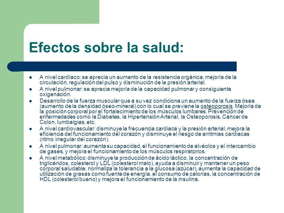 Efectos sobre la salud: