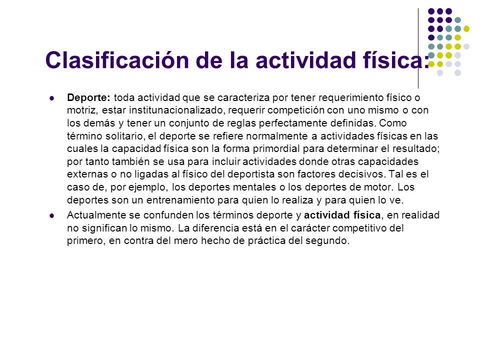 Clasificación de la actividad física: