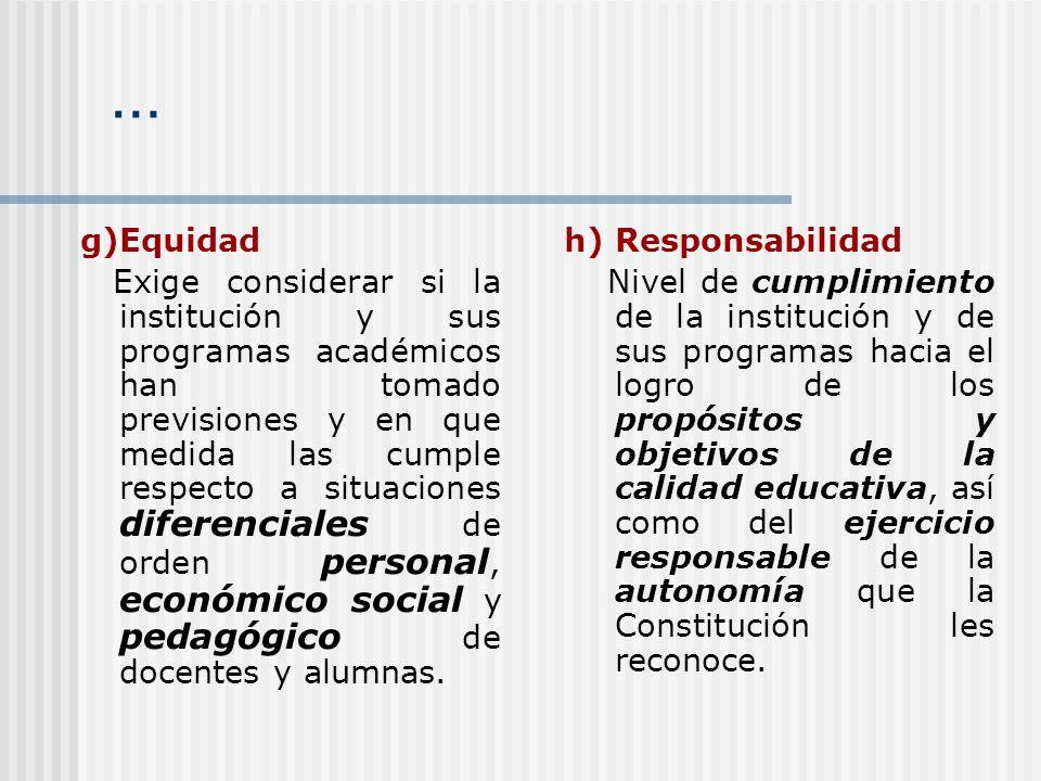 … g)Equidad.