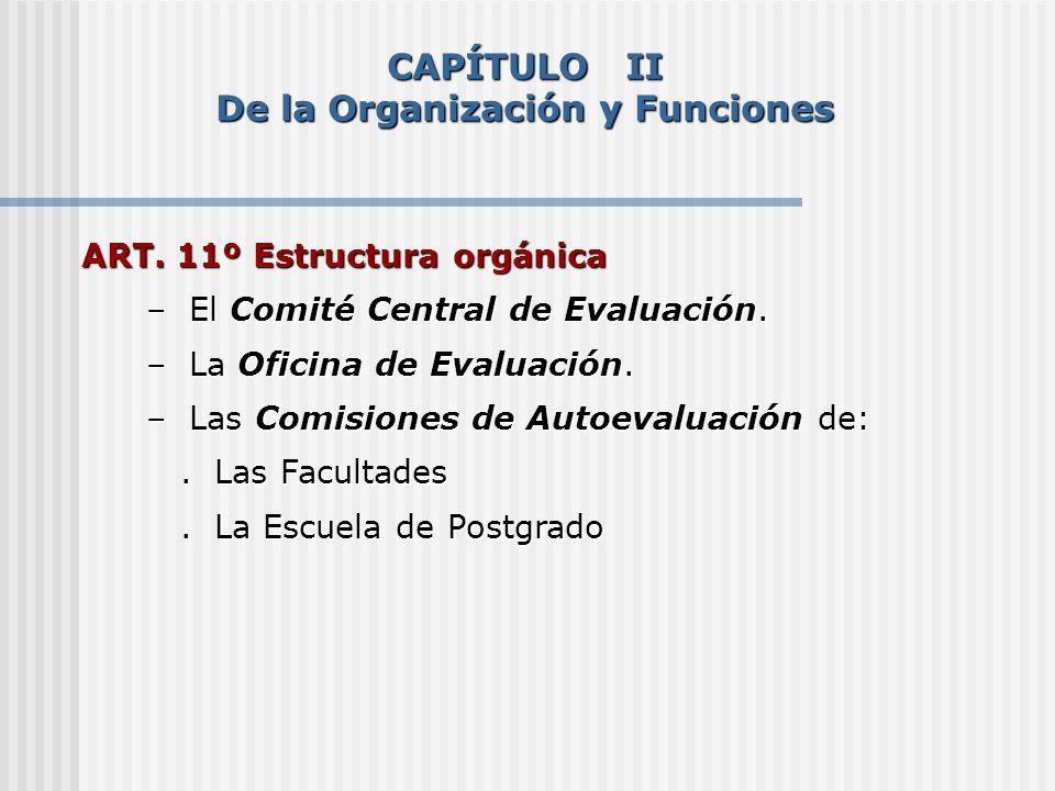 CAPÍTULO II De la Organización y Funciones