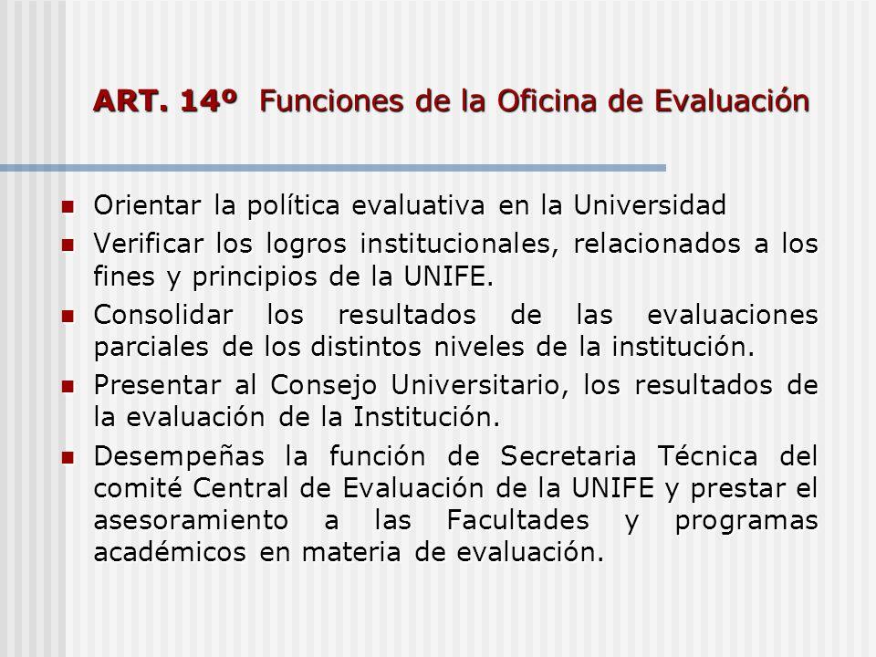 ART. 14º Funciones de la Oficina de Evaluación