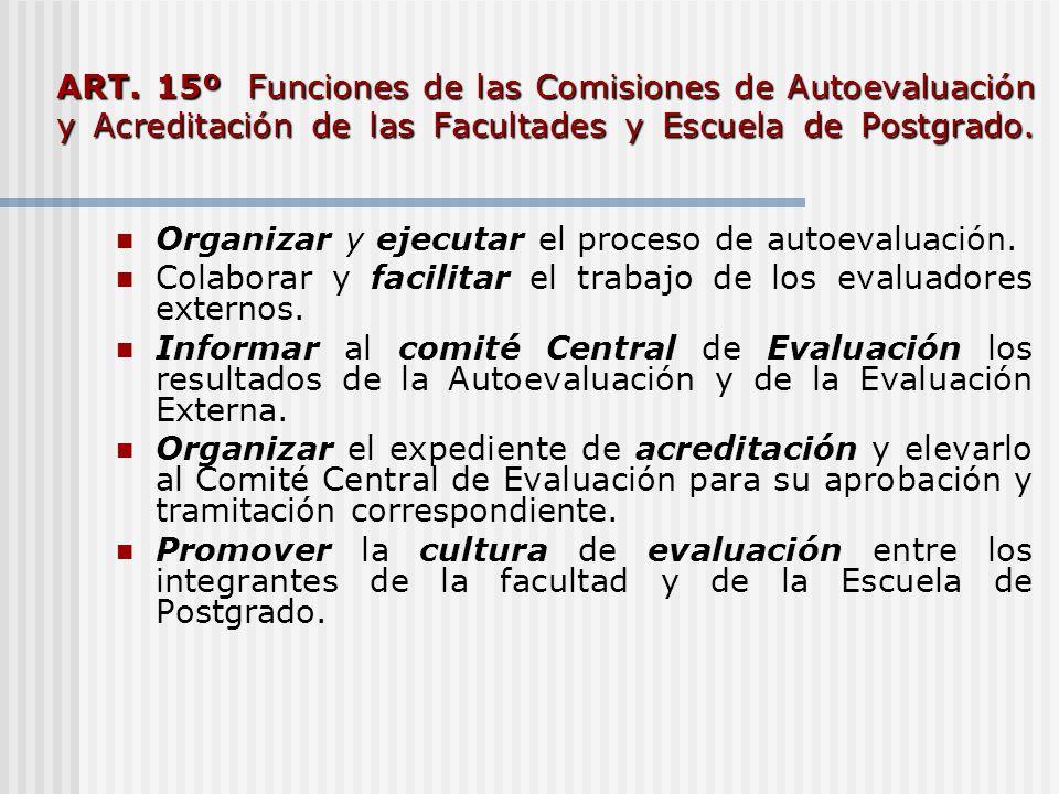 ART. 15º Funciones de las Comisiones de Autoevaluación y Acreditación de las Facultades y Escuela de Postgrado.