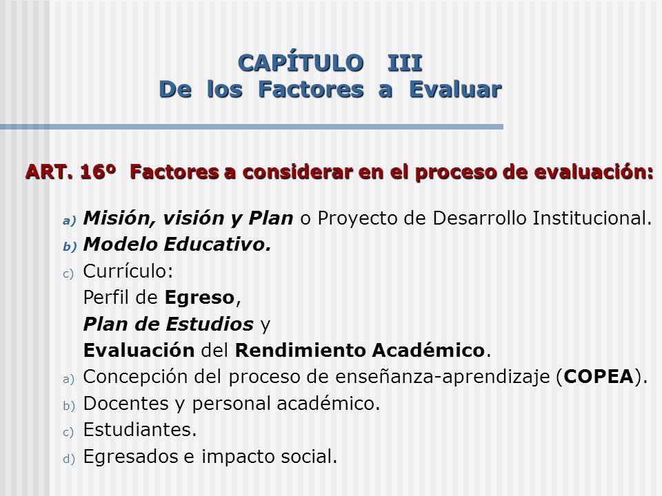 CAPÍTULO III De los Factores a Evaluar