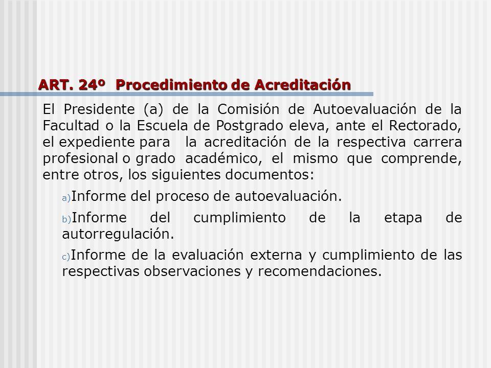 ART. 24º Procedimiento de Acreditación