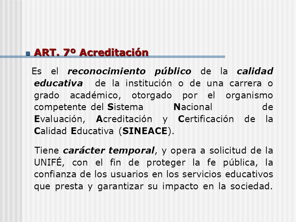 ART. 7º Acreditación