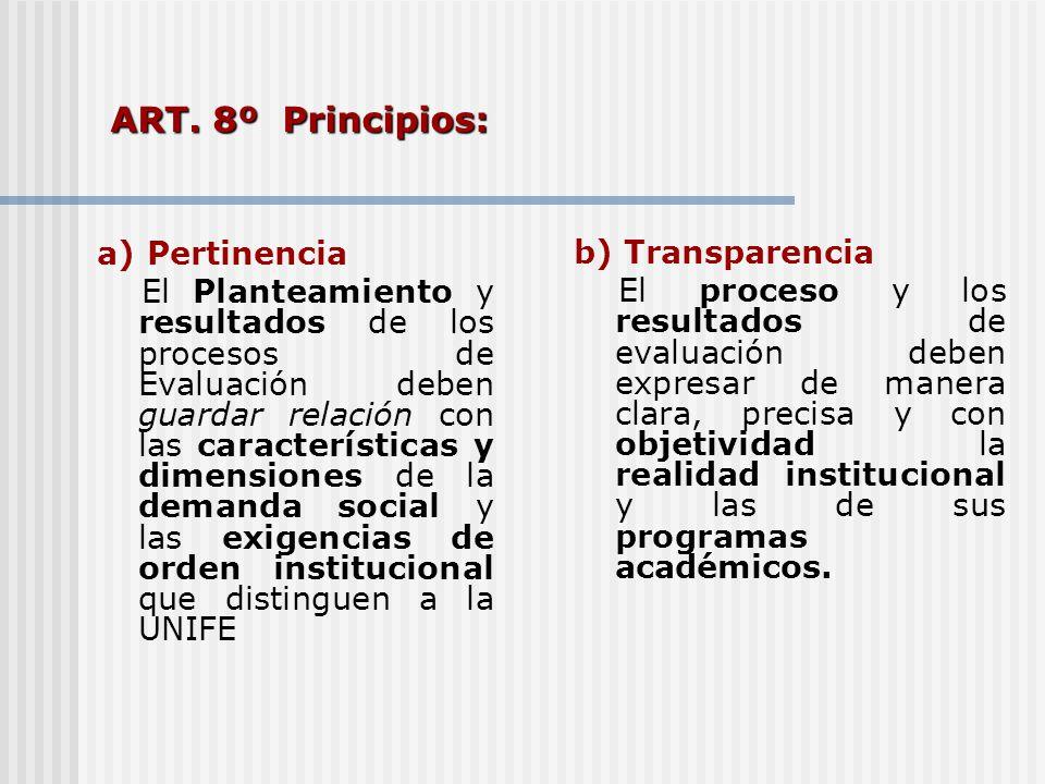 ART. 8º Principios: a) Pertinencia b) Transparencia