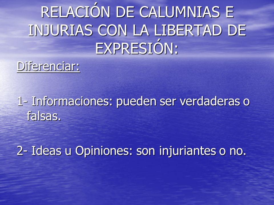 RELACIÓN DE CALUMNIAS E INJURIAS CON LA LIBERTAD DE EXPRESIÓN: