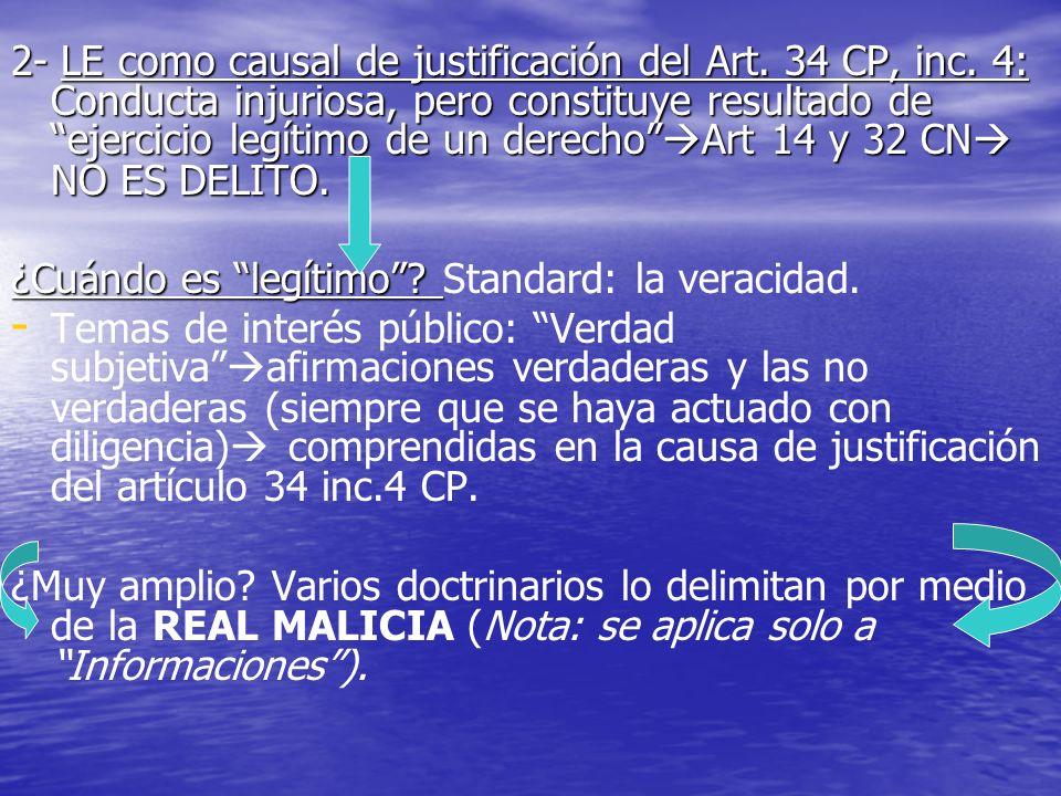2- LE como causal de justificación del Art. 34 CP, inc