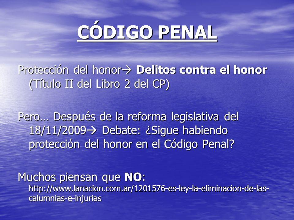 CÓDIGO PENAL Protección del honor Delitos contra el honor (Título II del Libro 2 del CP)