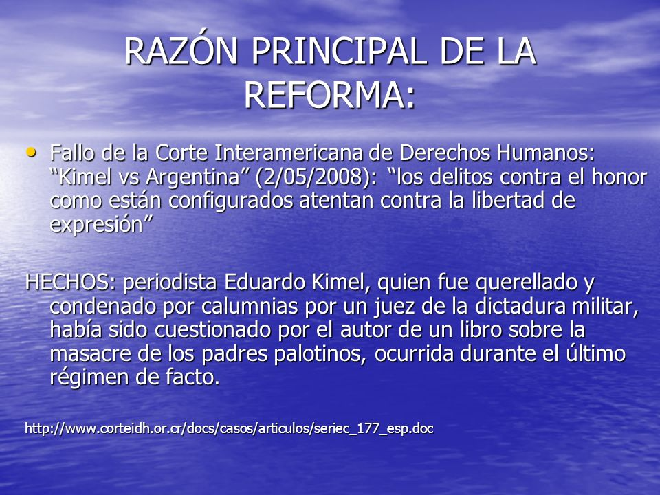 RAZÓN PRINCIPAL DE LA REFORMA: