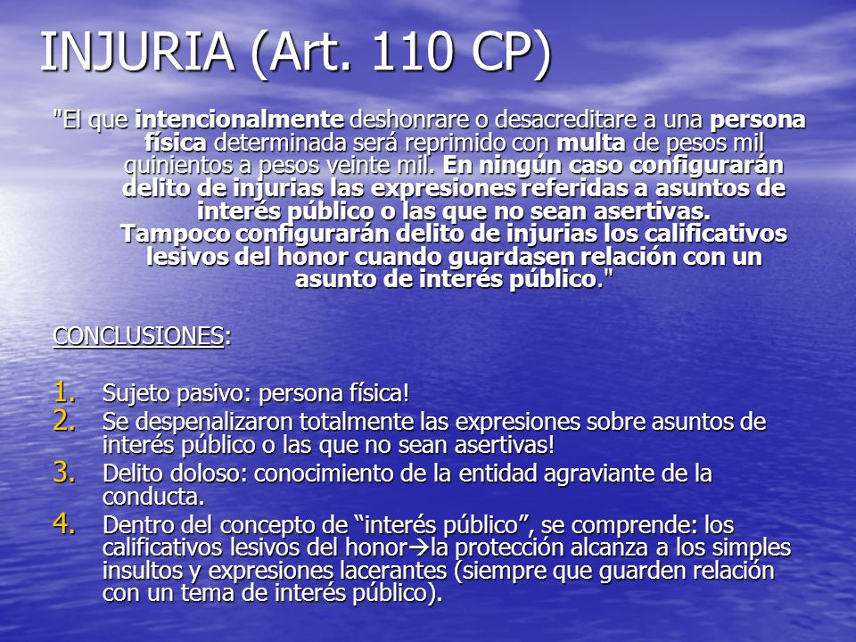 INJURIA (Art. 110 CP)