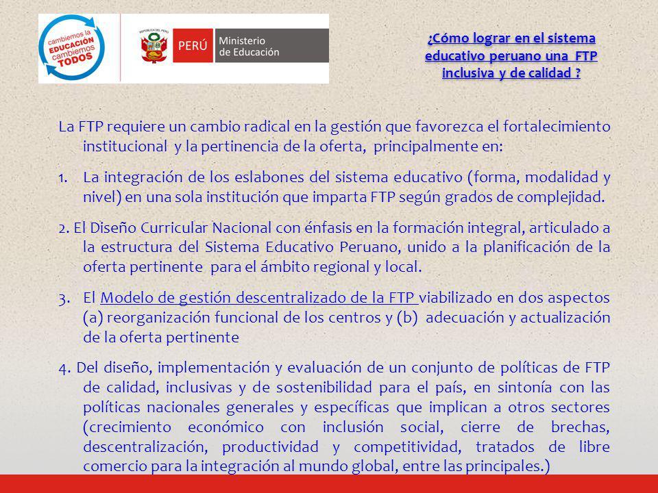 ¿Cómo lograr en el sistema educativo peruano una FTP inclusiva y de calidad