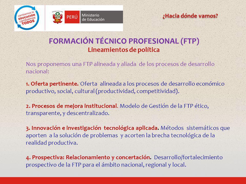 FORMACIÓN TÉCNICO PROFESIONAL (FTP) Lineamientos de política
