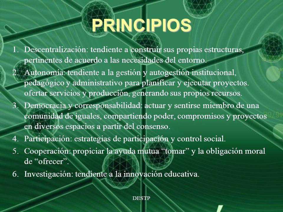 PRINCIPIOS Descentralización: tendiente a construir sus propias estructuras, pertinentes de acuerdo a las necesidades del entorno.