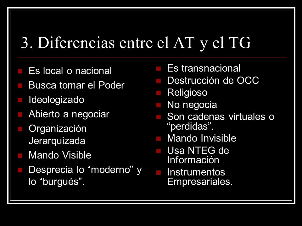 3. Diferencias entre el AT y el TG
