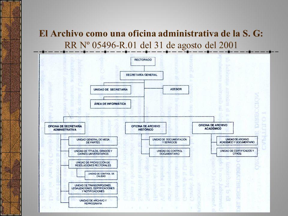El Archivo como una oficina administrativa de la S. G: RR Nº 05496-R