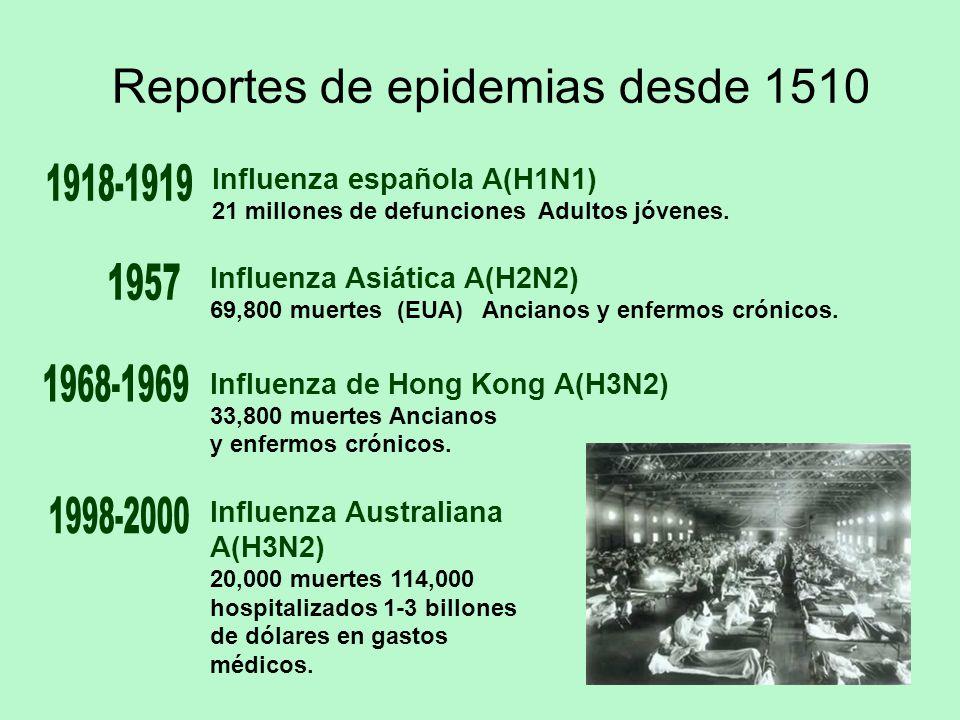 Reportes de epidemias desde 1510