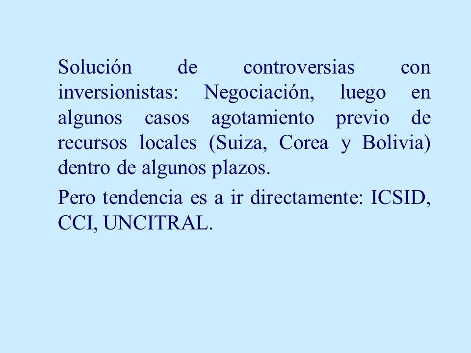 Solución de controversias con inversionistas: Negociación, luego en algunos casos agotamiento previo de recursos locales (Suiza, Corea y Bolivia) dentro de algunos plazos.