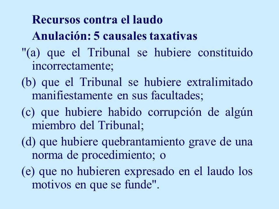 Anulación: 5 causales taxativas