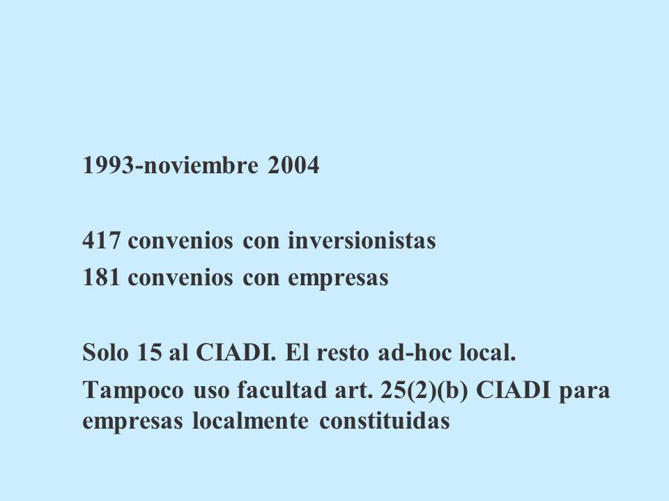 1993-noviembre 2004 417 convenios con inversionistas. 181 convenios con empresas. Solo 15 al CIADI. El resto ad-hoc local.