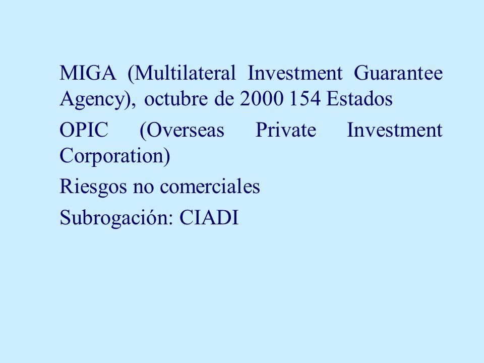 MIGA (Multilateral Investment Guarantee Agency), octubre de 2000 154 Estados