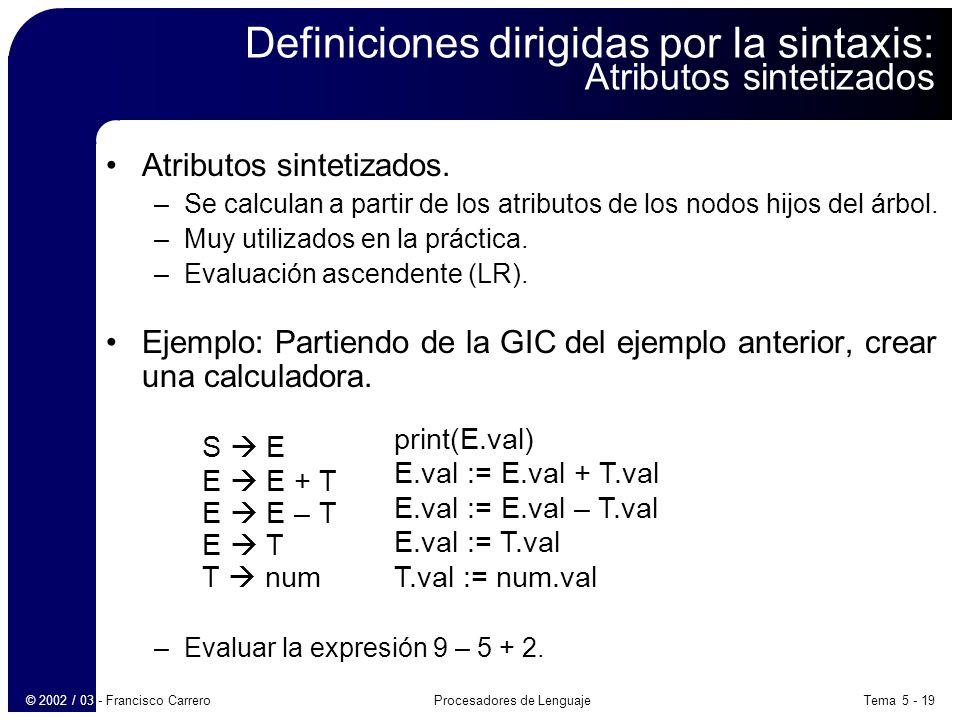 Definiciones dirigidas por la sintaxis: Atributos sintetizados
