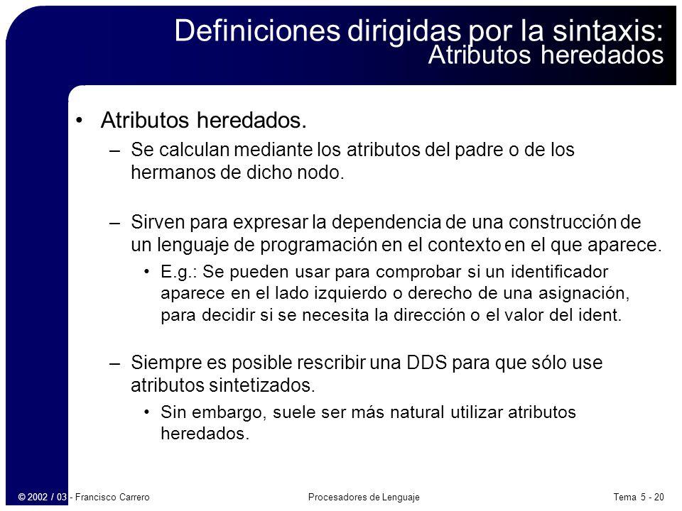 Definiciones dirigidas por la sintaxis: Atributos heredados
