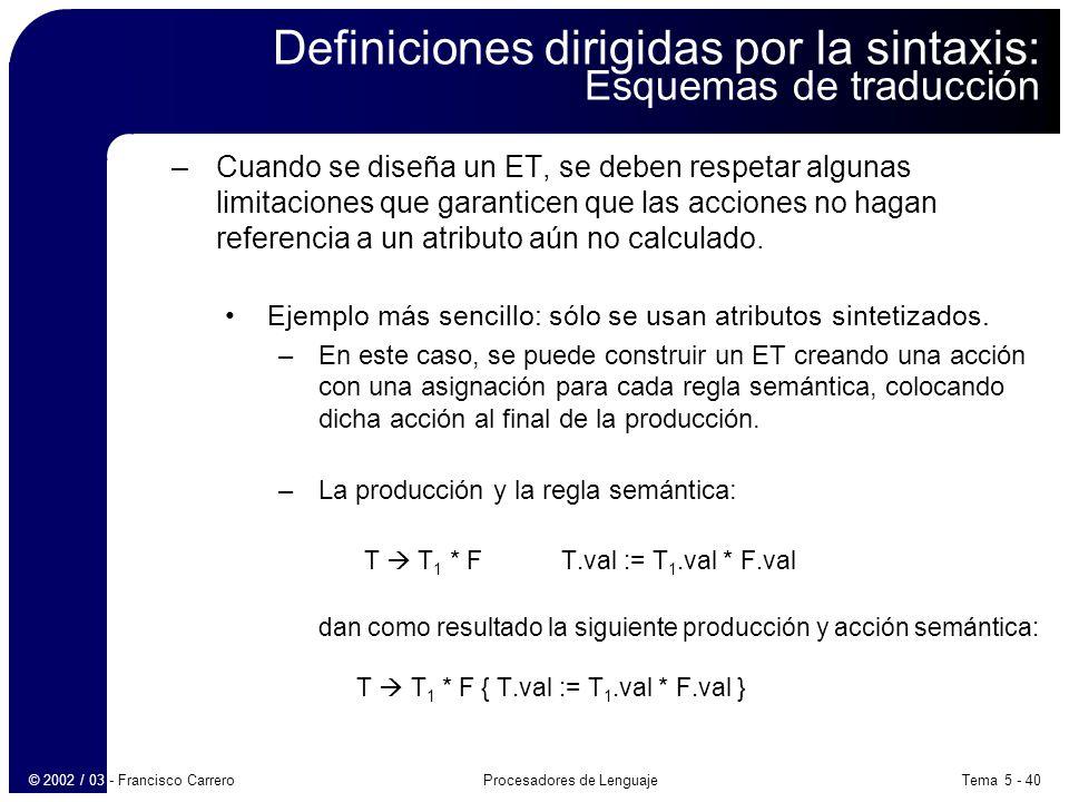 Definiciones dirigidas por la sintaxis: Esquemas de traducción