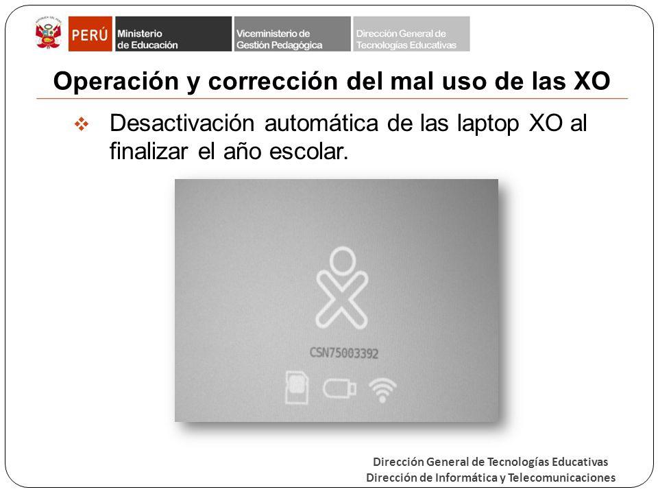 Operación y corrección del mal uso de las XO