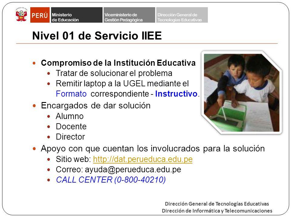 Nivel 01 de Servicio IIEE Encargados de dar solución