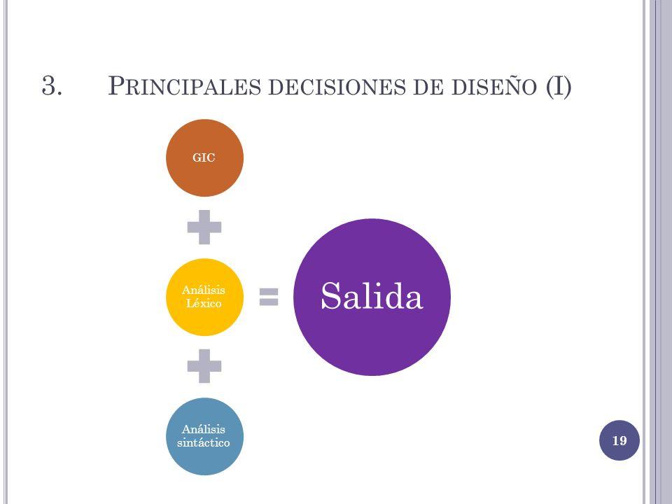 3. Principales decisiones de diseño (I)