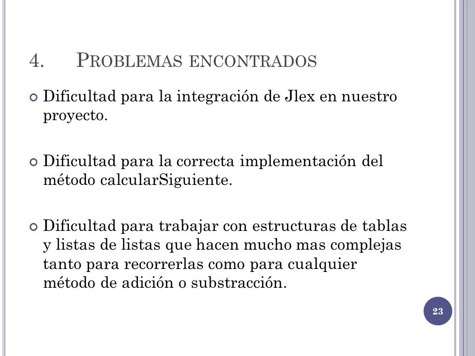 4. Problemas encontrados