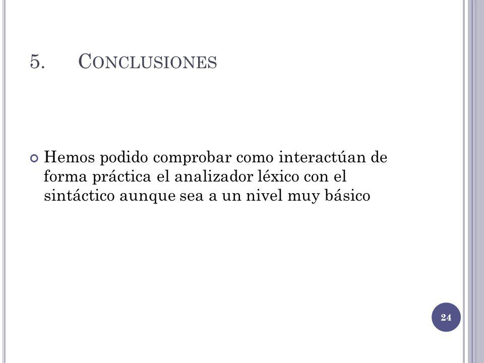 5. Conclusiones Hemos podido comprobar como interactúan de forma práctica el analizador léxico con el sintáctico aunque sea a un nivel muy básico.