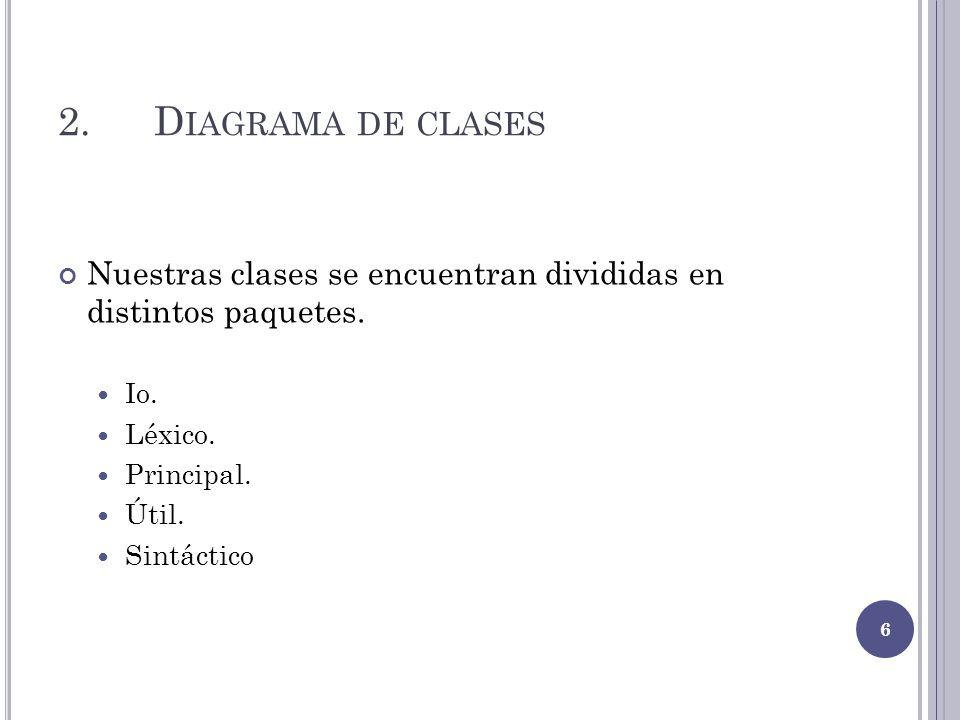 2. Diagrama de clases Nuestras clases se encuentran divididas en distintos paquetes. Io. Léxico.