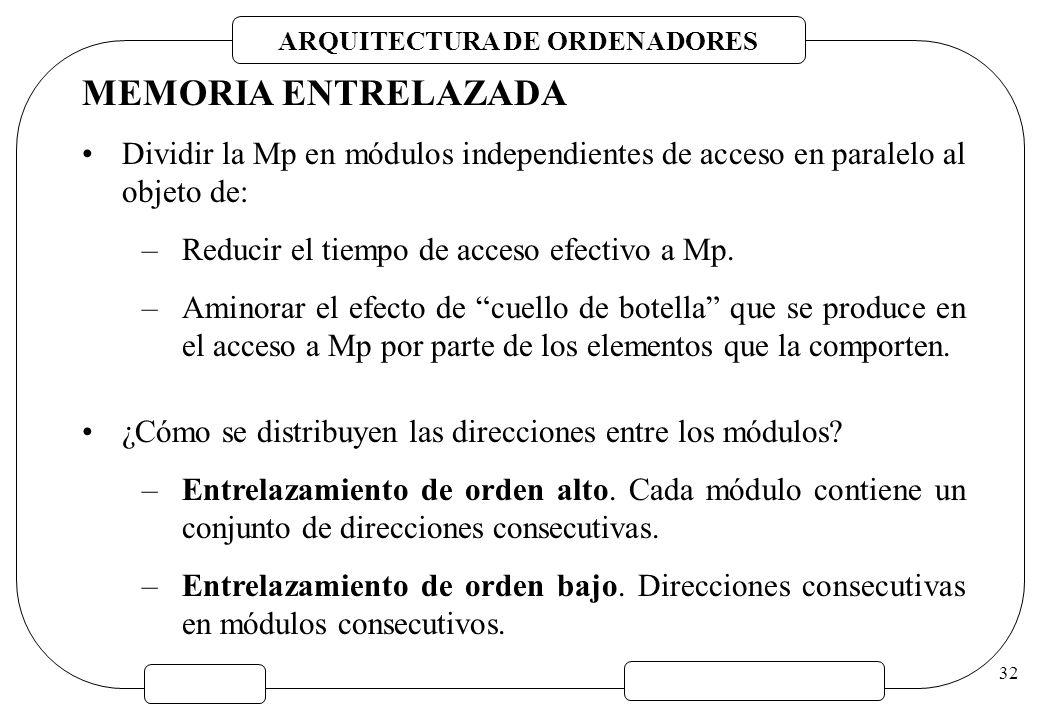 MEMORIA ENTRELAZADA Dividir la Mp en módulos independientes de acceso en paralelo al objeto de: Reducir el tiempo de acceso efectivo a Mp.