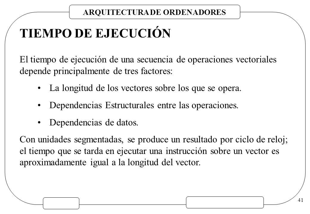 TIEMPO DE EJECUCIÓN El tiempo de ejecución de una secuencia de operaciones vectoriales depende principalmente de tres factores: