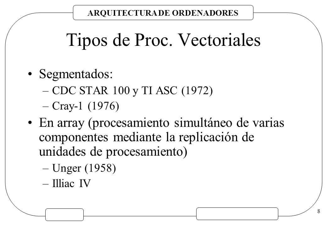 Tipos de Proc. Vectoriales