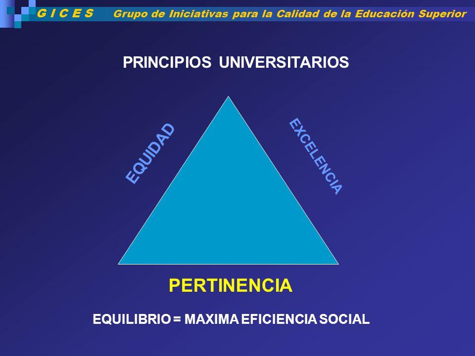 PERTINENCIA PRINCIPIOS UNIVERSITARIOS EQUIDAD EXCELENCIA